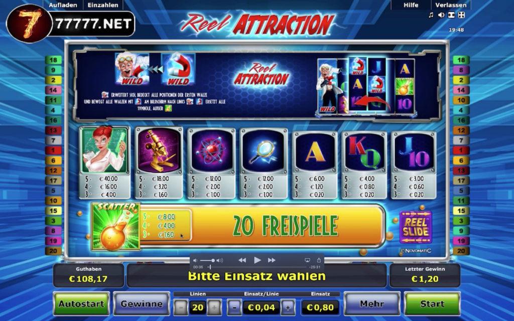 Gewinntabelle Reel Attraction 80 Cent