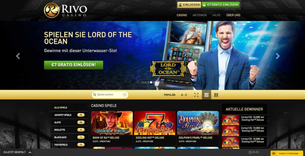 Rivo Casino Webseite Vorschau