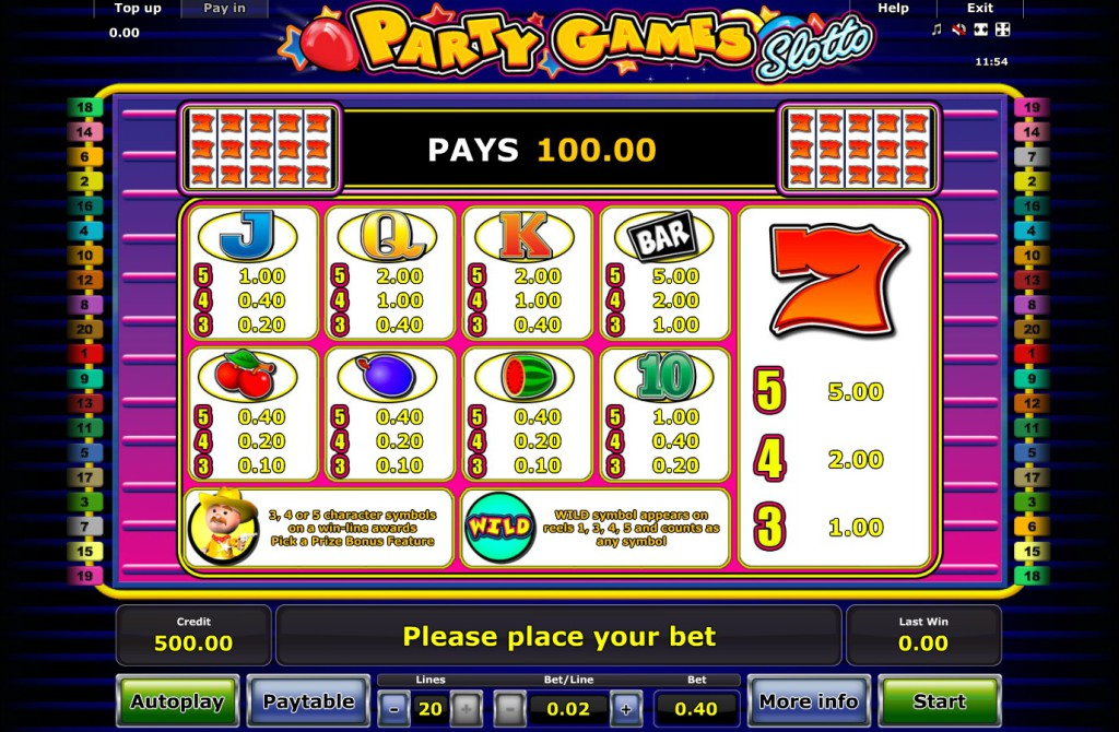 Party Games Slotto Online online - Spela Novomatic spelet gratis