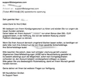 Stargames Account Sperre - Erste Mail