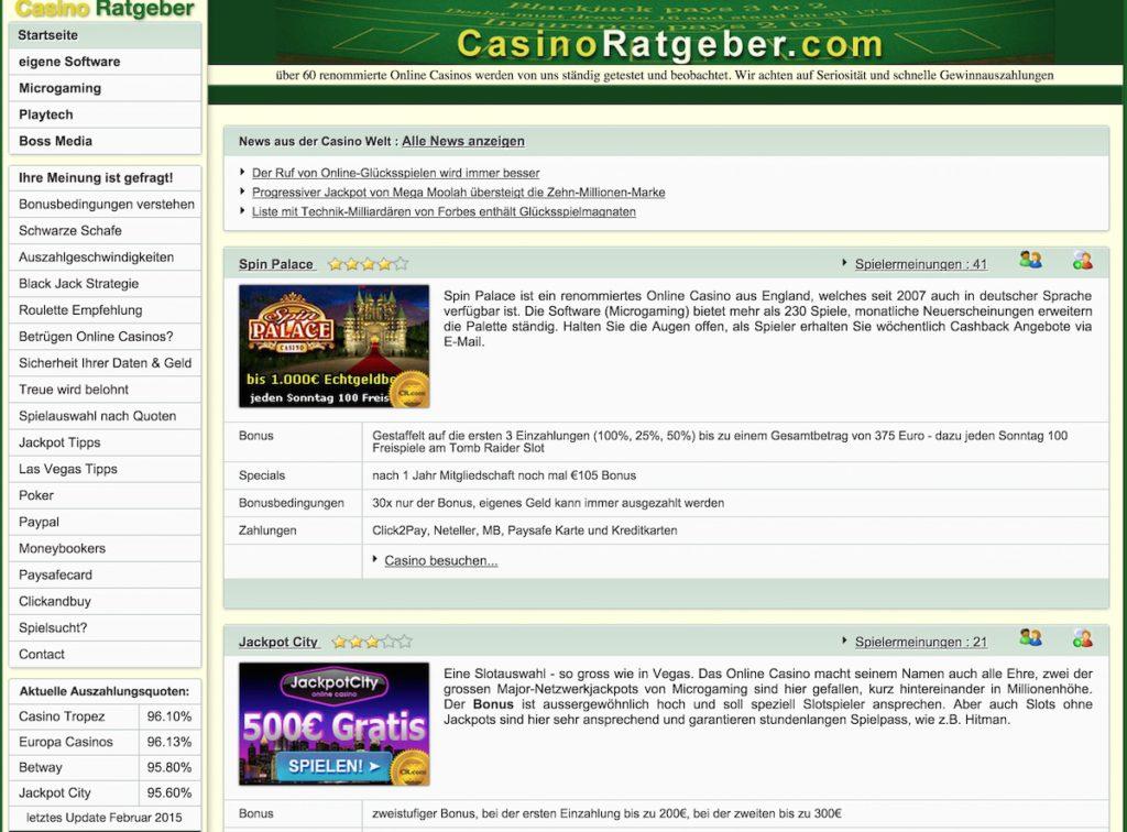 Casinoratgeber.com Webseite