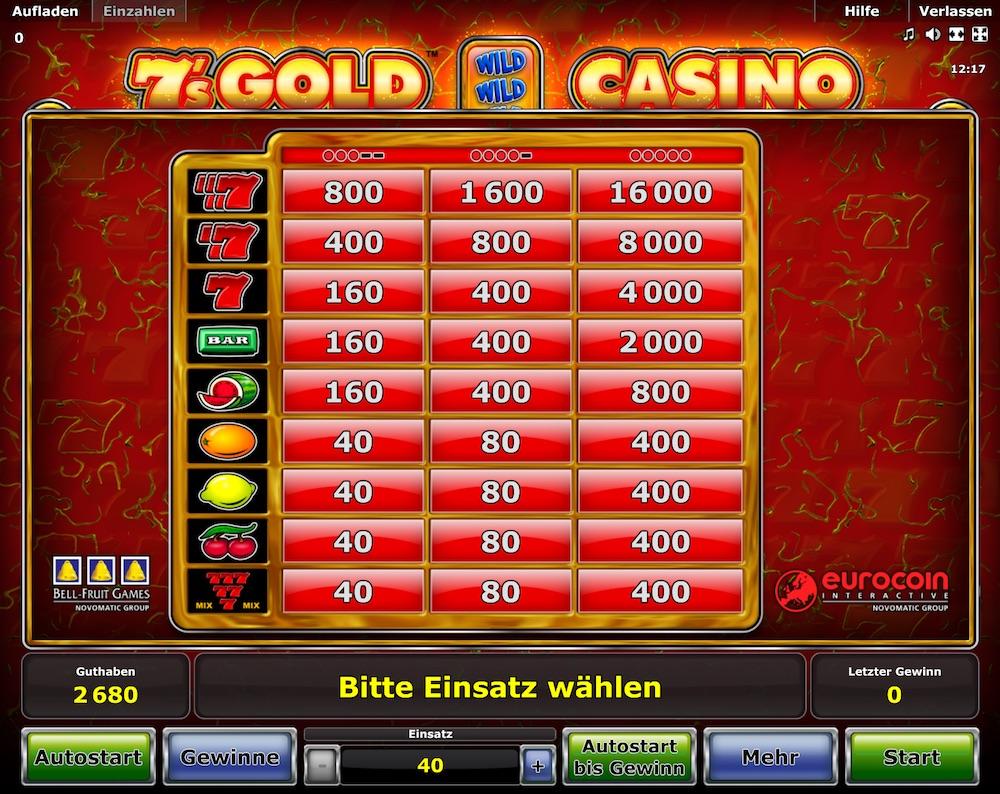 7s Gold Casino Gewinntabelle