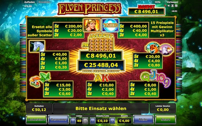 Elven Princess Stargames Gewinntabelle