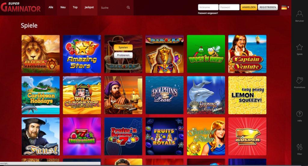 SuperGaminator Spielautomaten Novoline