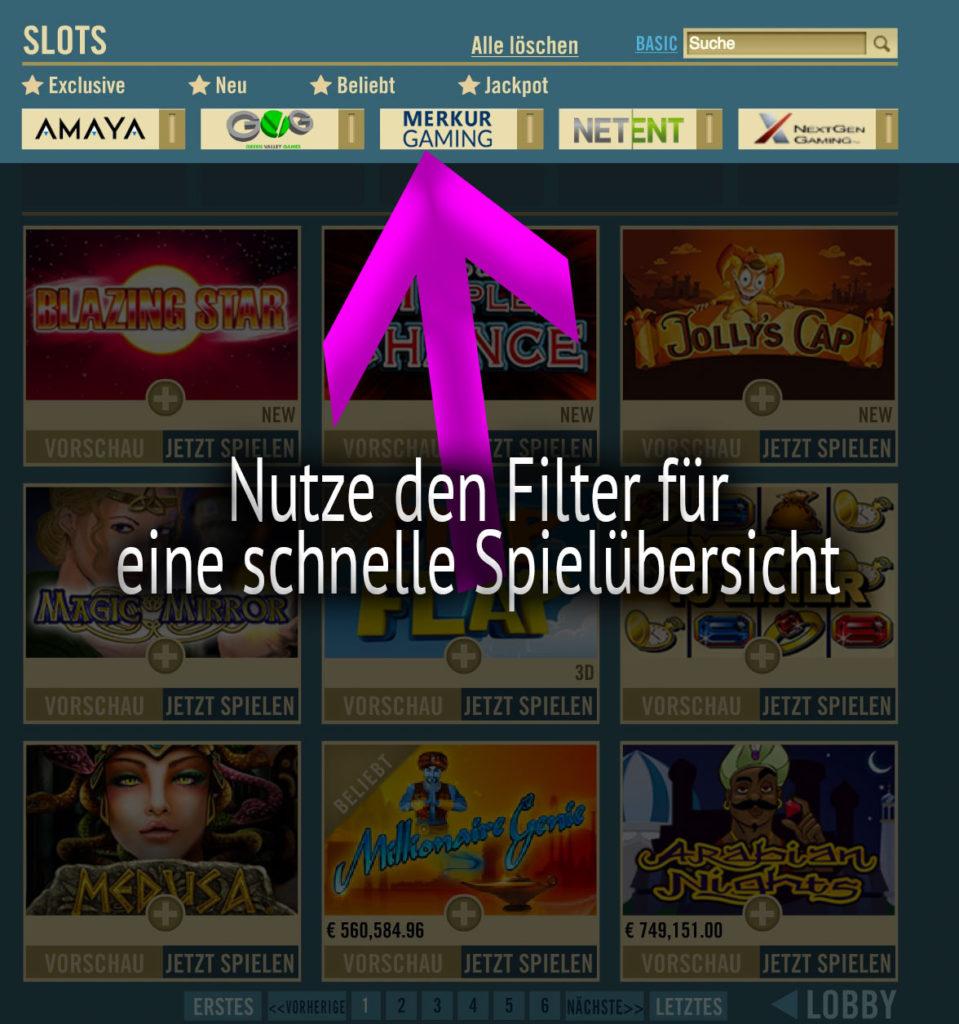 Spielautomaten Filter Drueckglueck