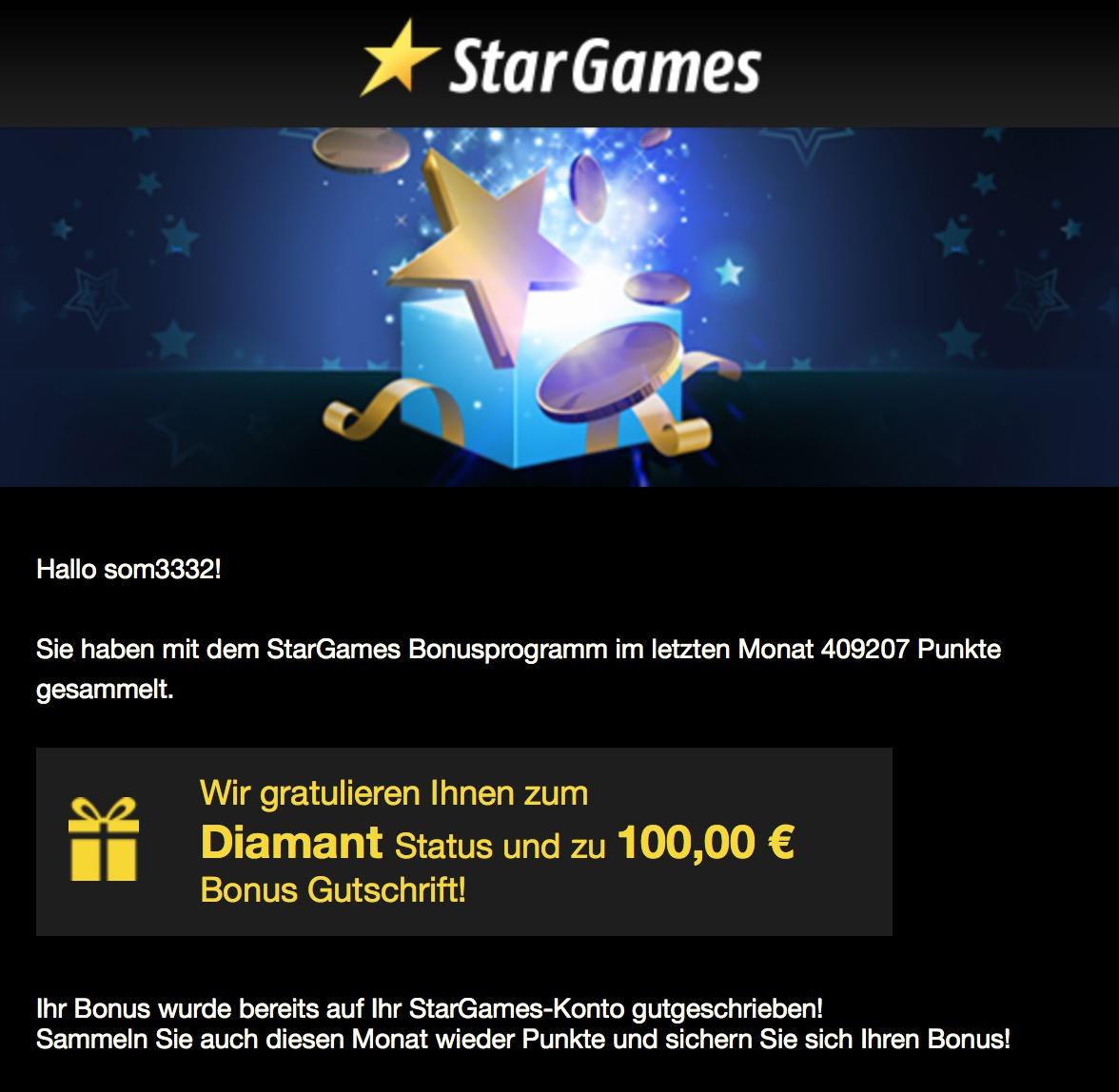 Stargames Diamant Status