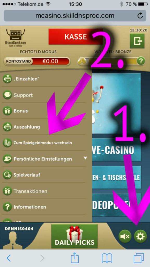 Wechsel Spielgeld Modus Smartphone