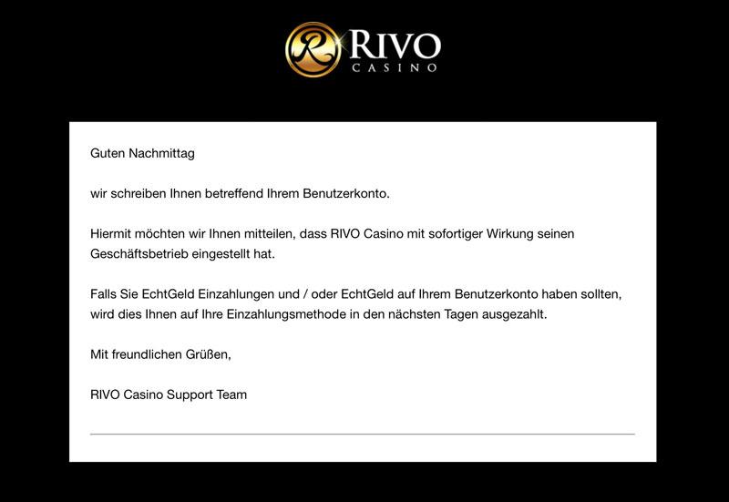 Rivo Casino geschlossen Support E-Mail
