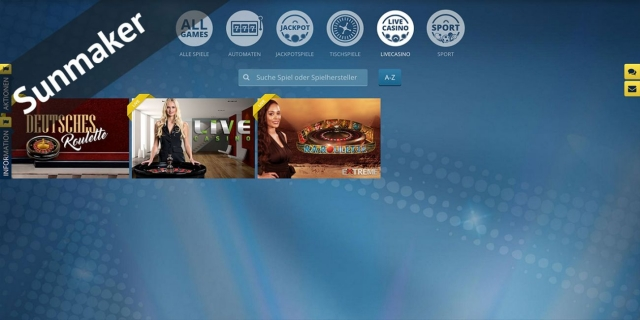 Nur drei Live Casino Spiele bei Sunmaker