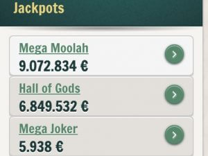 Verschiedene Jackpots im Cherry Casino inklusive Mega Moolah und Hall of Gods