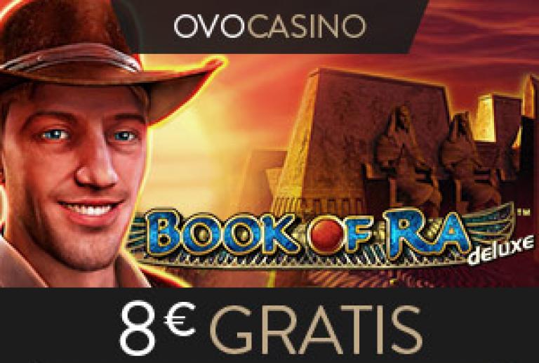 Ovo Casino Werbebanner fuer 8 Euro gratis ohne Einzahlung
