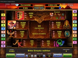 Gewinntabelle Jackpot Edition Book of Ra