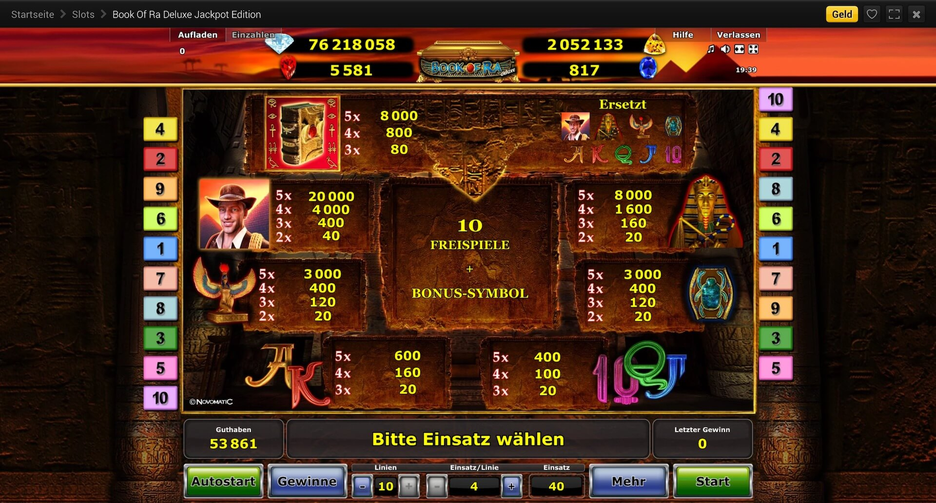 online casino for free book of ra jackpot